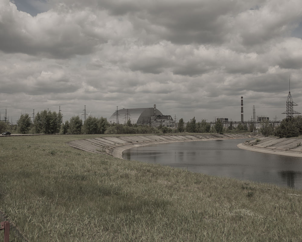 landscape with chernobyl power plant in chenobyl